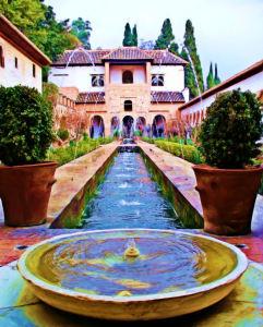 Alhambra Patio de la Acequia 1 (oil, intense, linen, fine camel)